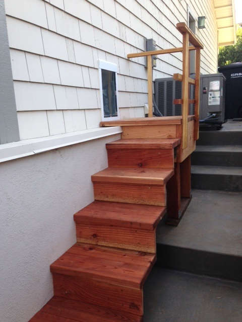 Exterior pet stairway - Exterior door with pet door installed ...
